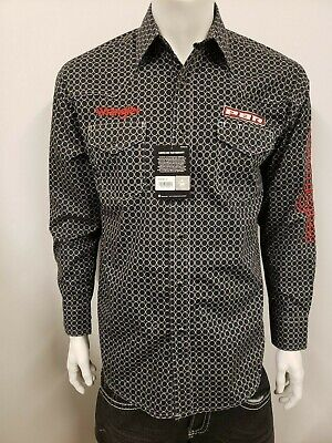 $54 • Buy NWT Wrangler PBR Grey Logo Rodeo Western Embroidered Long Sleeve.(L) Shirt