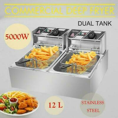 £77.95 • Buy Electric Deep Fryer Dual Tank Stainless Steel 12L 5000W Commercial Restaurant