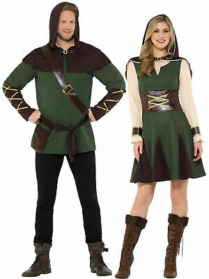 Mens Ladies Robin Hood Costume Fancy Dress Medieval Prince Of Thieves Couples • 23.95£