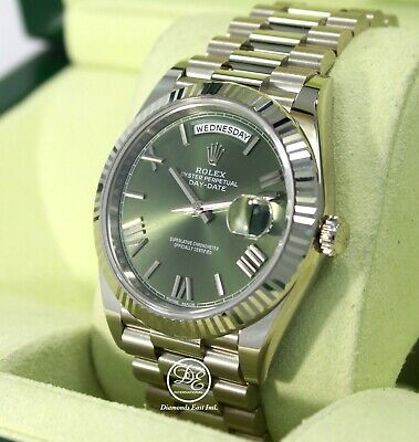 $ CDN41001.17 • Buy Rolex President 40mm Day-Date 228239 18K White Gold Green Roman Dial Box Papers