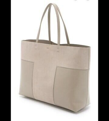 TORY BURCH $475 French Grey Block-T Leather And Suede Tote Handbag • 135$