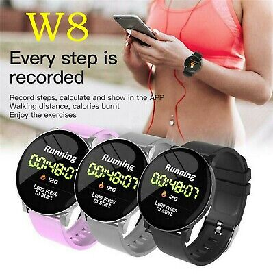 $ CDN23.36 • Buy W8 Smart Watch Heart Rate Monitor Weather Forecast Call Reminder Waterproof Band