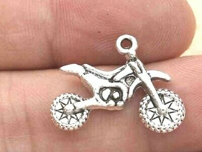 10pcs--Motorcycle Charms Silver Tone 2 Sided Dirt Bike Charm Pendants 23X18mm • 2.99£