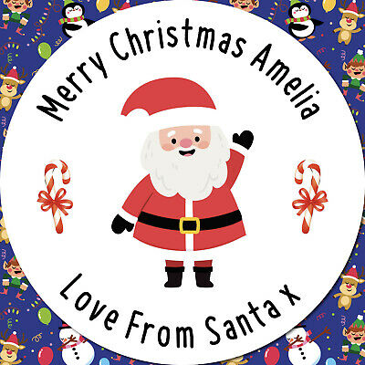 24 CUSTOM Christmas Santa Personalised Stickers Labels GIFT Wrap Seals Stickers  • 1.99£