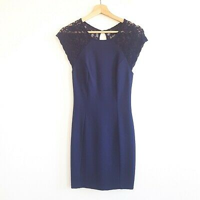 AU21 • Buy Forever New Womens Size 6 Navy Blue Cap Sleeve Party Cocktail Dress Lace Sleeves