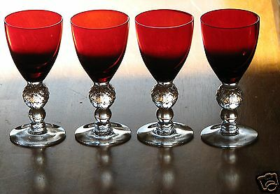 Morgantown Glass GOLF BALL Red / Crystal Clear Stem Wine Goblets - Set Of 4 • 29.99$