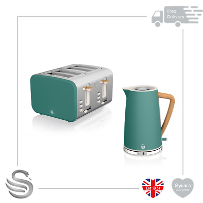 Swan 1.7L Nordic Cordless Kettle 3kW Rapid Boil &4 Slice Toaster Stainless Steel • 109.99£