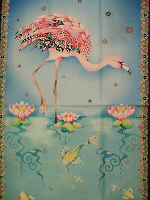 Fancy Flamingo Water Lilly Realistic Digital Print Cotton Fabric Panel  • 15.99$