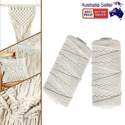 AU28.20 • Buy 2Rolls Cotton Cord Natural Beige Twisted Cord Rope Craft Macrame String DIY AU