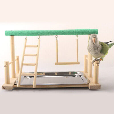 Parrot Bird Perch Table Top Stand 2 Steel Cups Play For Medium& Large Breeds • 18.04£