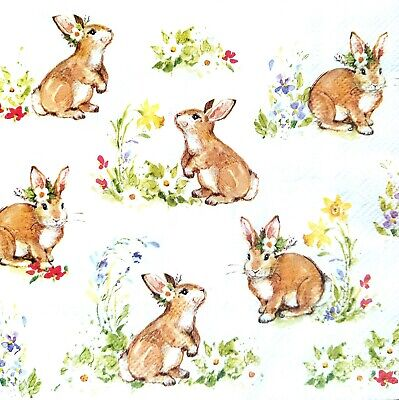 £1.39 • Buy 4 Lunch Paper Napkins For Decoupage Party Table Craft Vintage  Rabbits Family