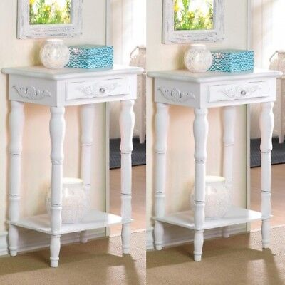 $127 • Buy 2 Nightstand Bedside End Tables Carved Legs White Table Set