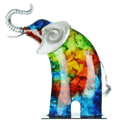 £30.73 • Buy Multi Coloured Metal Elephant Handpainted Statue Ornament Home Garden Accessory