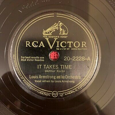 RCA VICTOR 20-2228 Louis Armstrong 78rpm It Takes Time/I Wonder I Wonder • 17.99$