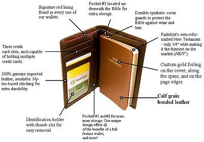 $ CDN25.07 • Buy  FAITHFOLD BIBLE WALLET With NEW TESTAMENT BIBLE Men's 100% Leather