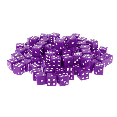 AU20.48 • Buy 100 Packs Six Sided Dice D6 Square Dice For Board Game Toys Math Teaching Purple