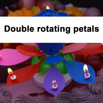 $ CDN16.37 • Buy 5x Musical Candle Lotus Flower Rotating Candles Light Happy Birthday Party Gift
