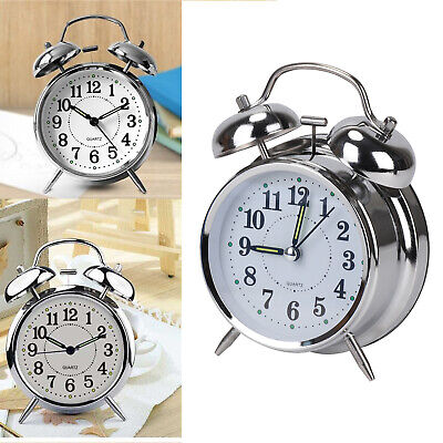 Retro Loud Double Bell Mechanical Key Wound Alarm Clock Kid Gift • 9.85£