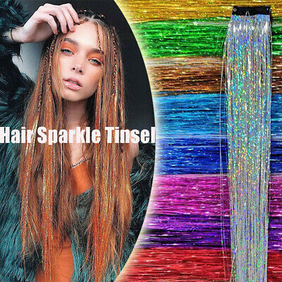 Clip In Hair Tinsel Holographic Glitter Extensions Dazzles Partystyle A+ • 1.79£