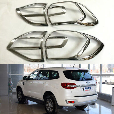 ABS Chrome Tail Light Lamp Cover Trim Fit For Ford Everest 2015-2016 • 50$