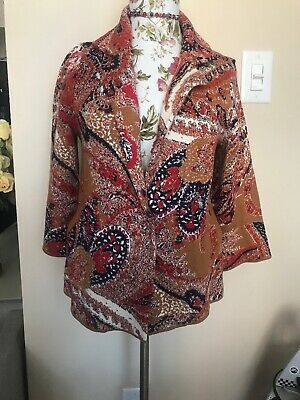 $ CDN65 • Buy Moth By Anthropologie Bronze Cardigan Bell 3/4 Sleeve Mixed Paisley XS NWT