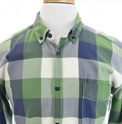 LOGG H&M Label Of Graded Goods Mens Fitted Button Down Shirt Check Blue Sz L • 26.49$