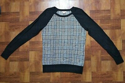 $12.99 • Buy Merona Size Large Pull Over Sweater Black White Plaid Versatile Casual OR Career