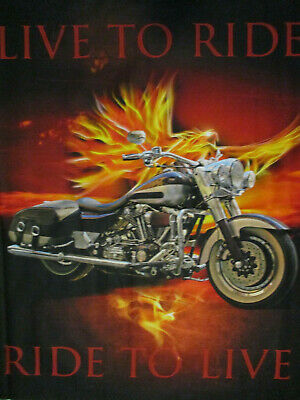 Harley Motorcycle Live To Ride Digital Print Cotton Fabric Panel  • 15.99$