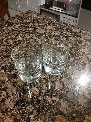 2 Crown Royal Rocks / Lowball Whiskey Glasses Crown On Pillow Heavy Bottom • 2$