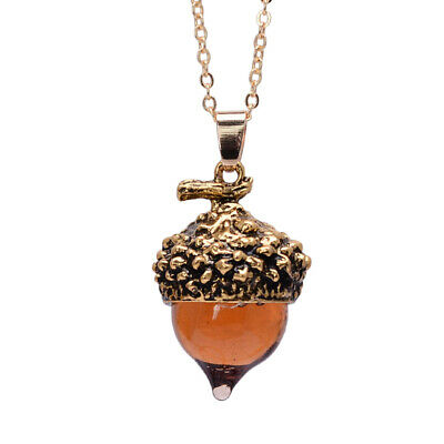 Glaze Glass Acorn Necklace Pendant Antique Gold With Long Chain - Ships Fast!  • 8.99$