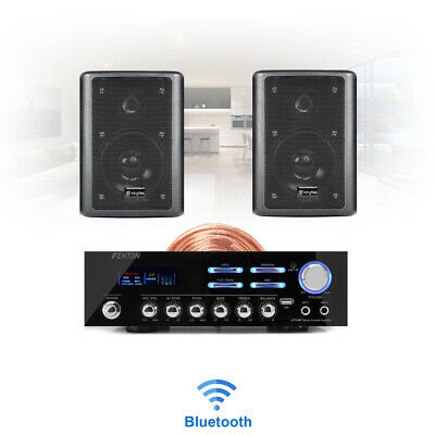 Bluetooth Home HiFi Stereo Wall Mount Speaker & Amplifier Wireless Music System • 116.99£