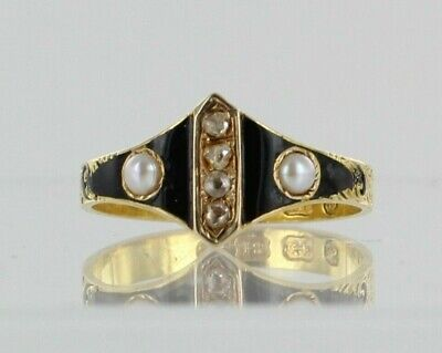 £499 • Buy 18ct Diamond And Pearl Black Enamel Antique Mourning Ring Dated 1867 REF2365