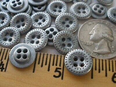 $7.67 • Buy 13MM Industrial Pattern Shirt Buttons 4-hole Metal Silver Pewter Color 20L 1/2