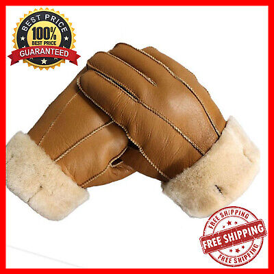 Winter Leather Sheep Fur Gloves Thermal Cashmere Hand Protection For Men & Women • 16.99£