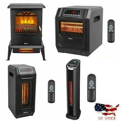$69.11 • Buy 1500W Infrared Space Heater Electric Fireplace Quartz LED Safe Fire Stove Remote