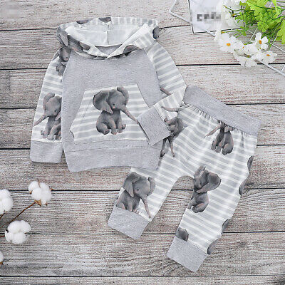 Infant Newborn Baby Girls Boys Elephant Print Striped Hooded Tops +Pants Outfits • 6.79£