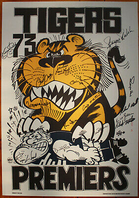 AU695 • Buy 1973 Richmond Signed Weg Poster Limited Edition Premiers 15 Signatures Tigers