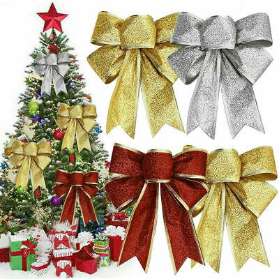 10Pcs Large Bows Christmas Tree Bowknot Ornaments Party Gift Present Xmas Decor  • 6.89£