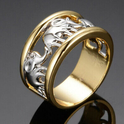 £1.30 • Buy Fashion 925 Silver Filled Ring Luxury 18K Gold Plated Elephant Men Band Jewelry