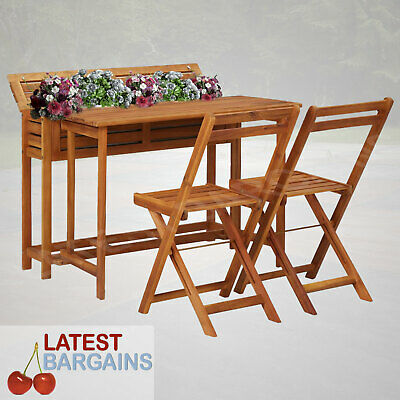 AU280.90 • Buy Outdoor Planter Table & Chair Setting Wooden Furniture Plant Box Balcony Patio