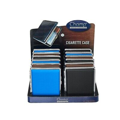 Champ Leather Look Cigarette Case, 20's, Blue, Black Or Brown, 20 Cigs Storage • 3.99£