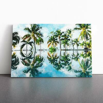 Palm Tree Reflections In Mauritius Landscape Framed Canvas Print Wall Art • 22.95£