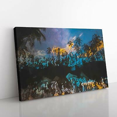 £22.95 • Buy Palm Tree Reflection In The Maldives In Abstract Canvas Print Wall Art Picture