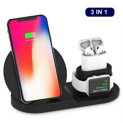 $ CDN19.41 • Buy 3in1 Qi Wireless Fast Charger Dock Stand For Apple Watch Airpods IPhone X Xs XR