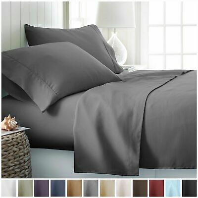 AU32.89 • Buy 1000TC Ultra Soft 4ps Flat & Fitted Sheet Set Queen/King/Super King Size Bed New