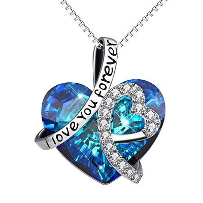 AU4.62 • Buy Infinity Love Heart Necklace Birthday Gifts For Wife Women Mom Crystals Jewelry