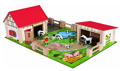 £34.99 • Buy Farm Yard Wooden Kids Toddler Toy Play Set With Figures Buildings Animals Fences