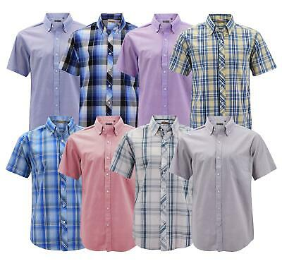 $23.99 • Buy Men's Cotton Casual Short Sleeve Classic Collared Plaid Button Up Dress Shirt