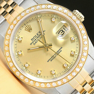 $ CDN9021.79 • Buy Rolex Mens Datejust 16233 Factory Diamond Dial 18k Yellow Gold & Steel Watch