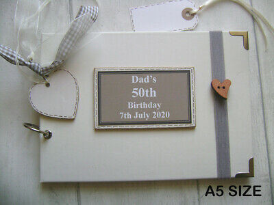 PERSONALISED 50TH Birthday PHOTO ALBUM/SCRAPBOOK/MEMORY/GUEST BOOK A5 Or A4 Size • 15.90£